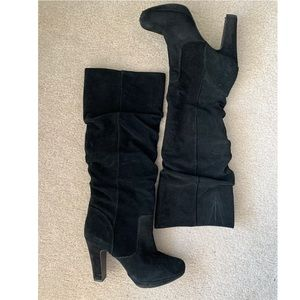 Black suede ruched knee-high boots